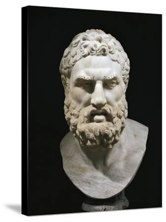 Marble Head of Heracles, Copy of Greek Original by Lysippus--Stretched Canvas Print