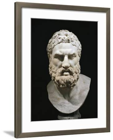 Marble Head of Heracles, Copy of Greek Original by Lysippus--Framed Giclee Print