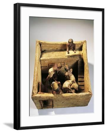 Asyut Necropolis, Model of a Barn with Workers, Plastered Wood--Framed Giclee Print