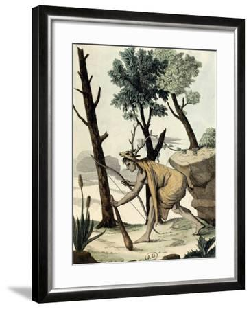 Native American Warrior Covered with Animal Hides--Framed Giclee Print