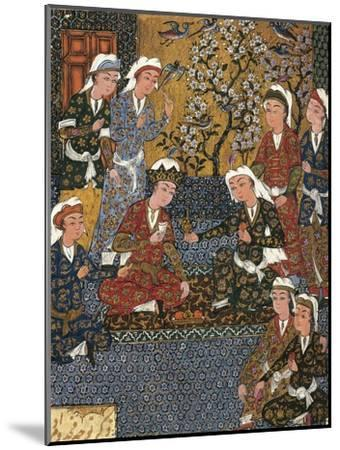 Safavid Persian Prince at Court, Miniature from a Persian Manuscript, 1650--Mounted Giclee Print