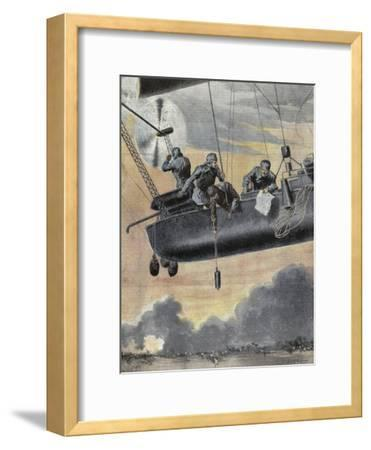 Italian Airship Bombing Turkish Positions in Libya, 1912--Framed Giclee Print