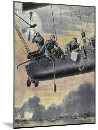 Italian Airship Bombing Turkish Positions in Libya, 1912--Mounted Giclee Print