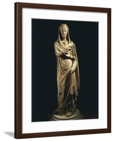 Marble Statue Portraying Roman Matron, from Colony of Cirta, Algeria--Framed Giclee Print