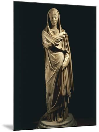 Marble Statue Portraying Roman Matron, from Colony of Cirta, Algeria--Mounted Giclee Print