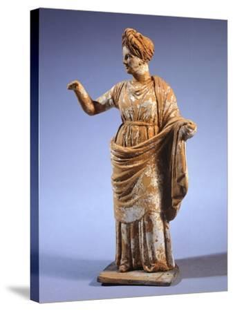 Hellenistic Tanagrina, Terracotta Statue from Tanagra, Greece--Stretched Canvas Print