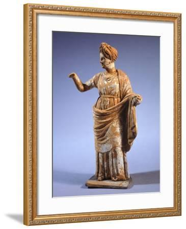 Hellenistic Tanagrina, Terracotta Statue from Tanagra, Greece--Framed Giclee Print