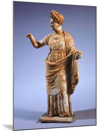 Hellenistic Tanagrina, Terracotta Statue from Tanagra, Greece--Mounted Giclee Print