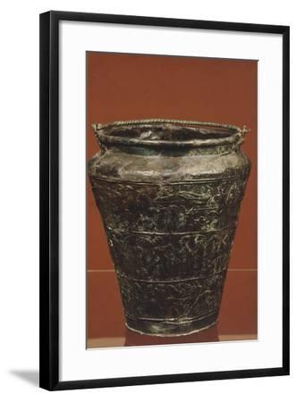 Bronze Situla with Structured Decoration on Three Panels, Showing Procession of Horses and Riders--Framed Giclee Print