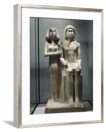 Limestone Sculptural Group Depicting a Married Couple--Framed Giclee Print