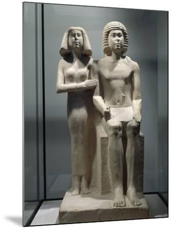 Limestone Sculptural Group Depicting a Married Couple--Mounted Giclee Print