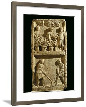 The Pillar of the Farmer, Relief Depicting a Fruit Market and Two Farmers Tilling the Soil--Framed Giclee Print