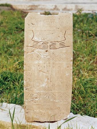Daunian Civilization, Figured Stele or Smenhir, from Siponto, Apulia Region, Italy--Framed Giclee Print