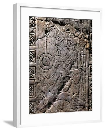 Italy, Apulia, Detail of Daunian Stele, Engraved Hunting Scene--Framed Giclee Print