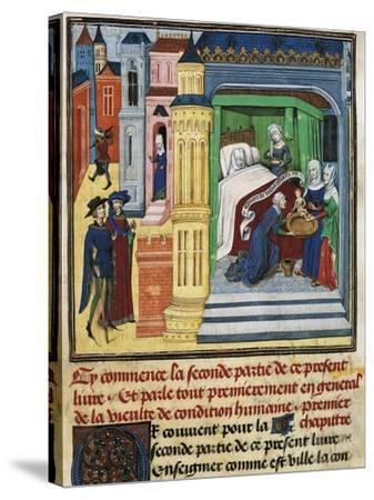 The Birth, Miniature from Jean De Gerson's Devotions, 1462, Manuscript--Stretched Canvas Print