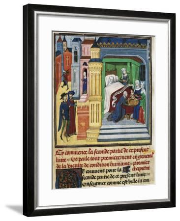 The Birth, Miniature from Jean De Gerson's Devotions, 1462, Manuscript--Framed Giclee Print