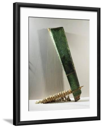 Musical Instrument: Wood and Copper Triangular Harp, Late Period--Framed Giclee Print