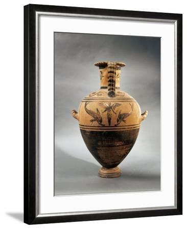Terracotta Hydria Depicting a Female Figure and Two Dolphins from Hydra--Framed Giclee Print