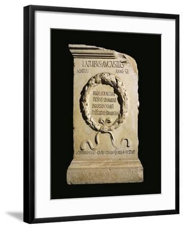 Augustan Altar of Lares, Relief with Oaken Crown and Names of Four Ministers of Vicus Stataematris--Framed Giclee Print