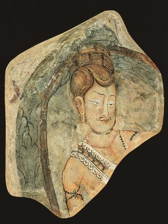 Young Ascetic in Hut of Leaves, Mural Painting from Navigators of Kizil Cave, Xinjiang, China--Premium Giclee Print