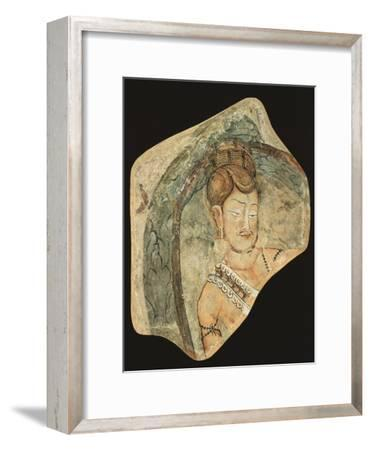 Young Ascetic in Hut of Leaves, Mural Painting from Navigators of Kizil Cave, Xinjiang, China--Framed Giclee Print