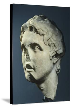 Head of Alexander, Copy from Augustan Age in Pentelic Marble from Hellenistic Original AD--Stretched Canvas Print