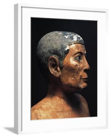 Painted Limestone Statue of the Seated Scribe from Saqqara, Detail--Framed Giclee Print