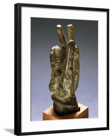 Hand-Shaped Bronze Amulet with Apotropaic Symbols--Framed Giclee Print