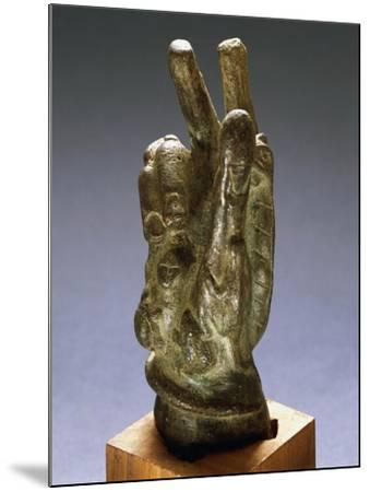 Hand-Shaped Bronze Amulet with Apotropaic Symbols--Mounted Giclee Print