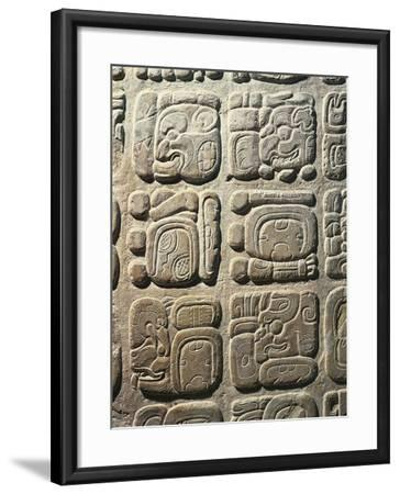 Mexico - Palenque Archaeological Site - Stone with Non-Coded Hieroglyphics--Framed Giclee Print