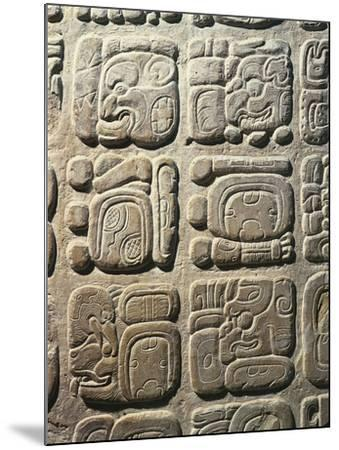 Mexico - Palenque Archaeological Site - Stone with Non-Coded Hieroglyphics--Mounted Giclee Print