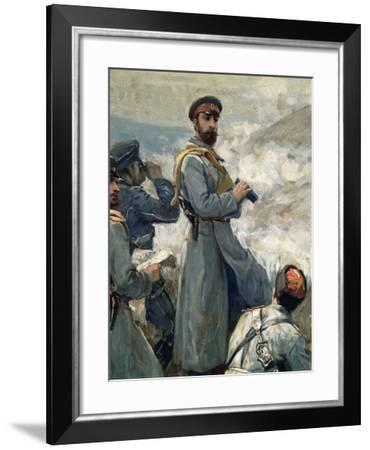 Alexander I of Bulgaria with His Chiefs of Staff Observing Battle of Dragoman, November 23, 1885--Framed Giclee Print