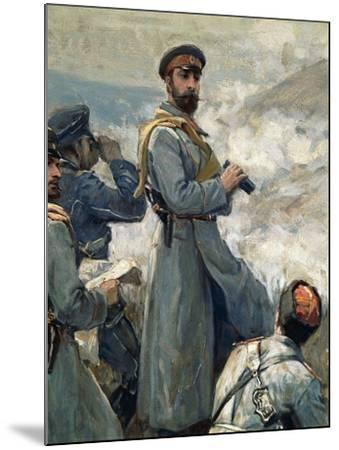 Alexander I of Bulgaria with His Chiefs of Staff Observing Battle of Dragoman, November 23, 1885--Mounted Giclee Print
