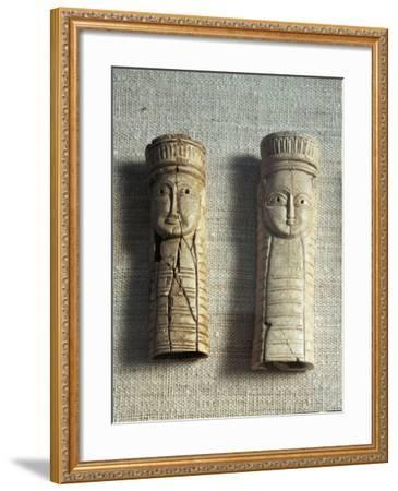 Greek Civilization, Figurines of Idols from Sanctuary of Artemis Orthia at Sparta, Greece--Framed Giclee Print