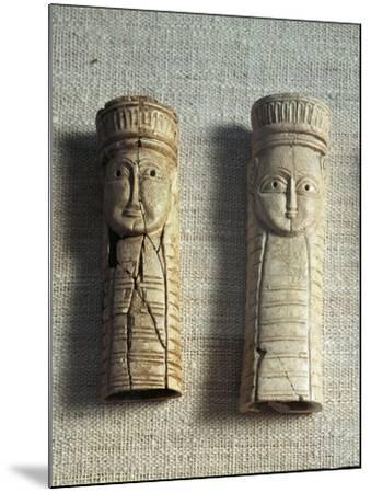 Greek Civilization, Figurines of Idols from Sanctuary of Artemis Orthia at Sparta, Greece--Mounted Giclee Print