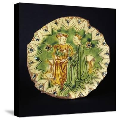 Decorated Circular Stand, Ceramic, Ferrara Manufacture, Emilia-Romagna, Italy, 16th Century--Stretched Canvas Print