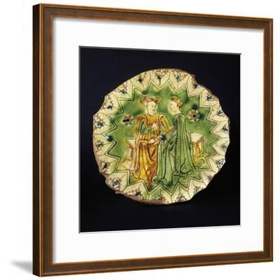 Decorated Circular Stand, Ceramic, Ferrara Manufacture, Emilia-Romagna, Italy, 16th Century--Framed Giclee Print