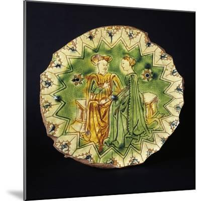 Decorated Circular Stand, Ceramic, Ferrara Manufacture, Emilia-Romagna, Italy, 16th Century--Mounted Giclee Print