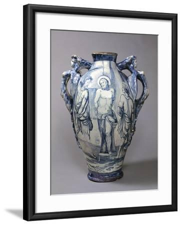Large Hydria Decorated with Flagellation of Jesus, Ceramic, Naples Manufacture, Italy--Framed Giclee Print