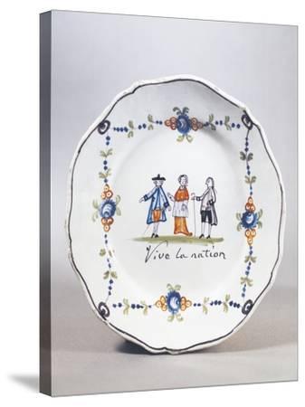Painted Plate, Ceramic, Aire-Sur-La-Lys Manufacture, Nord-Pas-De-Calais, France--Stretched Canvas Print