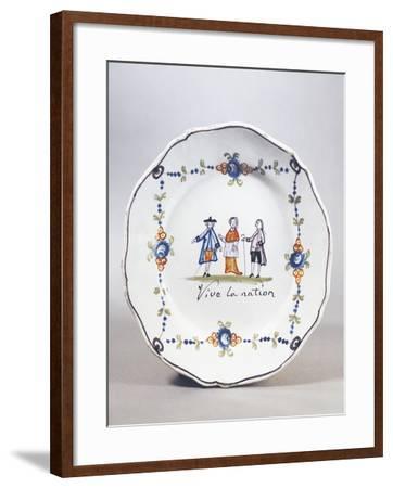 Painted Plate, Ceramic, Aire-Sur-La-Lys Manufacture, Nord-Pas-De-Calais, France--Framed Giclee Print