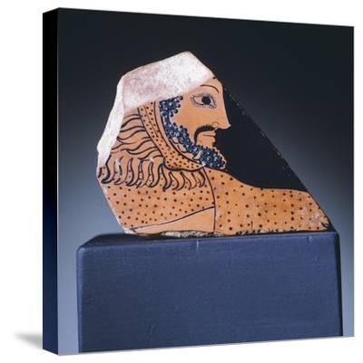 Attic Krater Fragment Showing Hercules's Head, 510-470 BC--Stretched Canvas Print