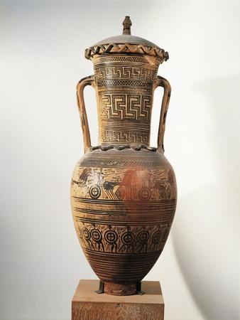 Geometric Pottery, Amphora, Figured and Meander Ornamentation--Framed Giclee Print