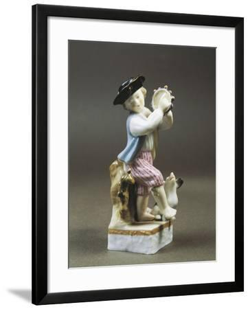 Porcelain Figurine of Young Tambourine Player, Paris Production--Framed Giclee Print