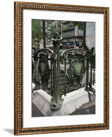 Detail of Art Nouveau Railings at Entrance of Paris Metro--Framed Giclee Print