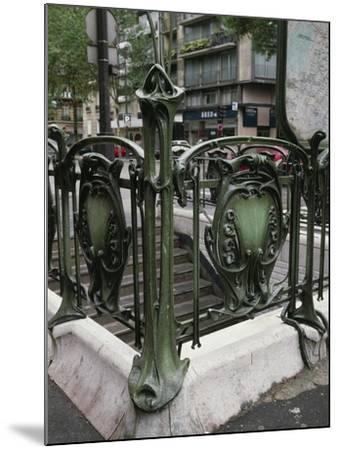 Detail of Art Nouveau Railings at Entrance of Paris Metro--Mounted Giclee Print