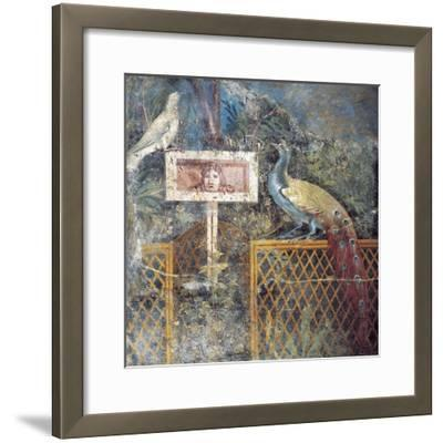 Ancient Roman Fresco with Birds and Tragic Theatre Mask--Framed Giclee Print