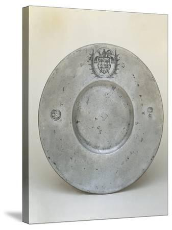 Pewter Plate with Coat of Arms of Bishop Adrian III or IV of Riedmatten--Stretched Canvas Print