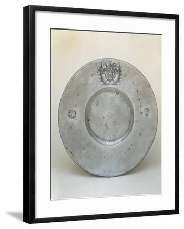 Pewter Plate with Coat of Arms of Bishop Adrian III or IV of Riedmatten--Framed Giclee Print