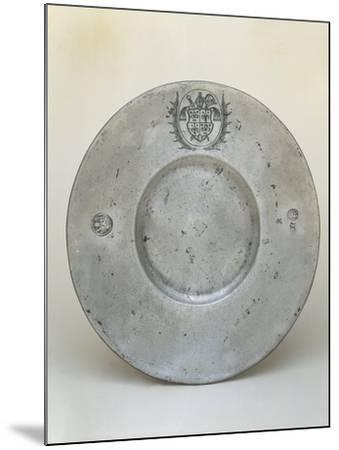 Pewter Plate with Coat of Arms of Bishop Adrian III or IV of Riedmatten--Mounted Giclee Print